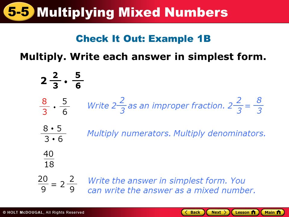 5-5 Multiplying Mixed Numbers Learn to multiply mixed numbers ...