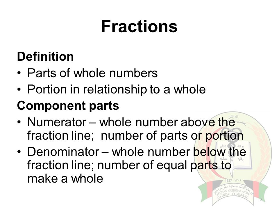 Awesome Portion In Relationship To A Whole Component Parts Numerator U2013 Whole Number  Above The Fraction Line; Number Of Parts Or Portion Denominator U2013 Whole  Number ...