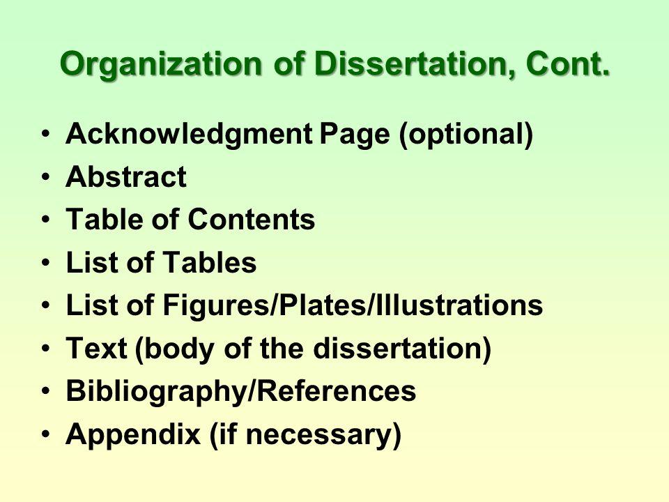 Acknowledgement page dissertation