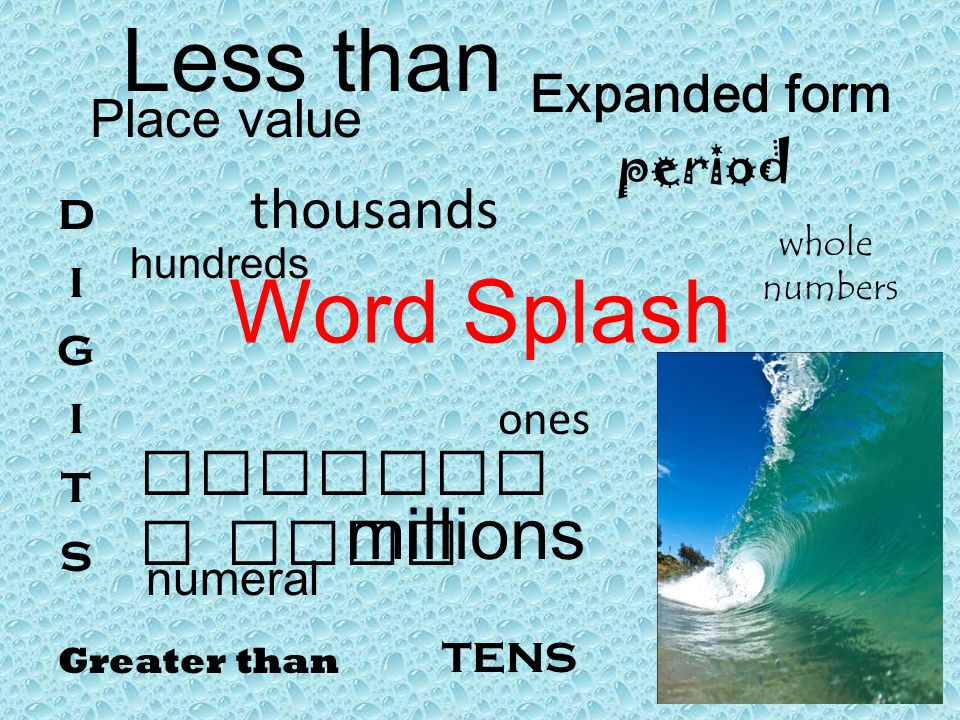 Word Splash Place Value Expanded Form Millions Thousands Whole