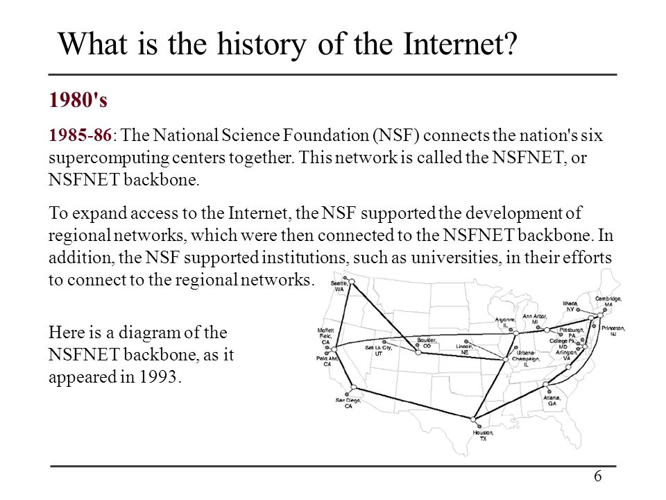 6 What is the history of the Internet.