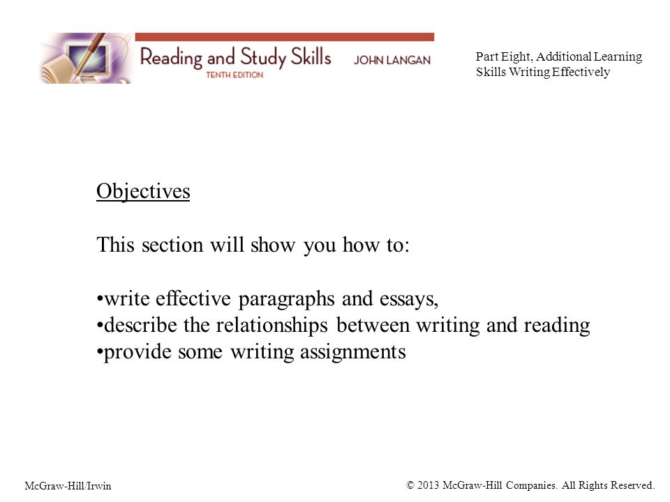 objectives this section will show you how to write effective  1 objectives