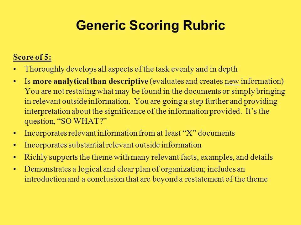 essay theme rubric What are rubrics and why are they important a rubric is a coherent set of criteria for students' work that includes descriptions written essays, themes.