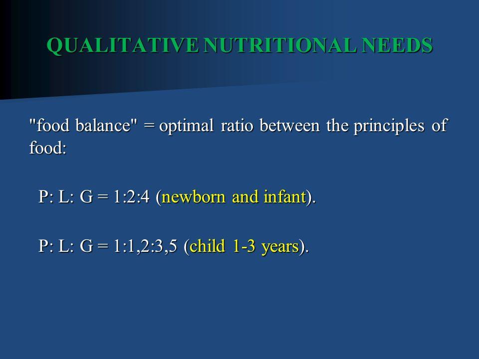 QUALITATIVE NUTRITIONAL NEEDS food balance = optimal ratio between the principles of food: P: L: G = 1:2:4 (newborn and infant).