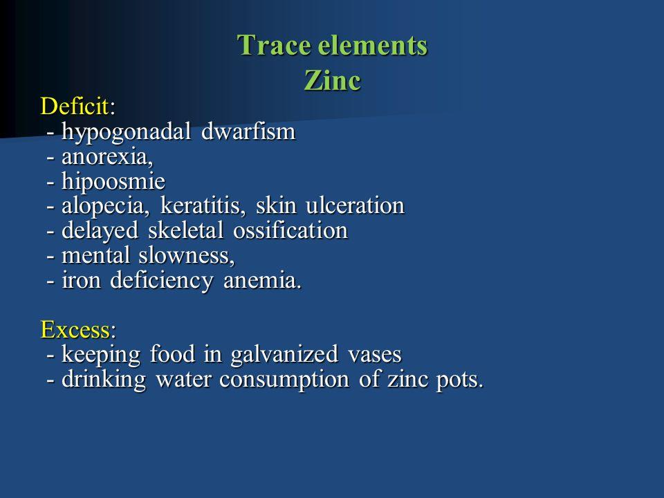 Trace elements Zinc Deficit: - hypogonadal dwarfism - anorexia, - hipoosmie - alopecia, keratitis, skin ulceration - delayed skeletal ossification - mental slowness, - iron deficiency anemia.