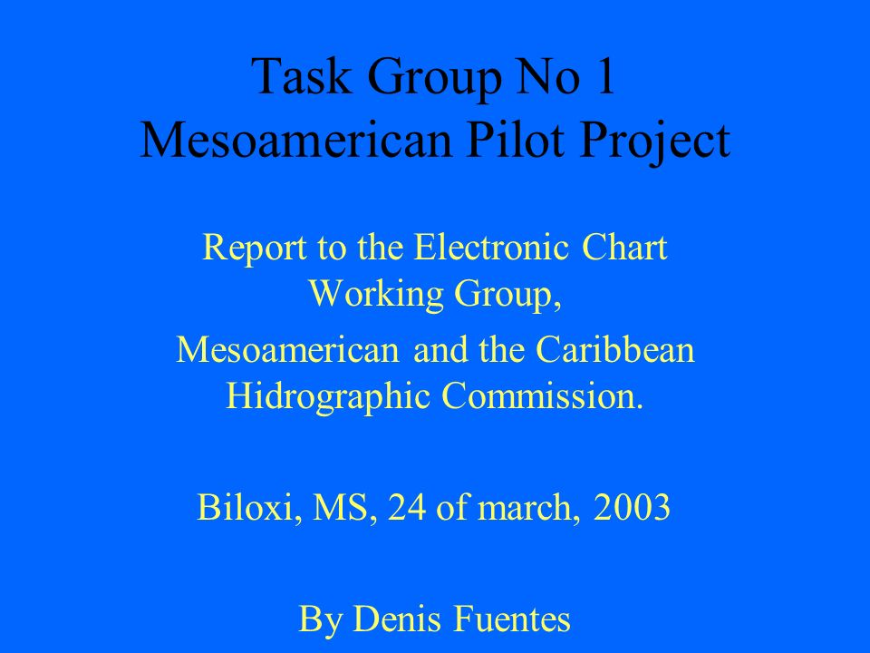 Task Group No 1 Mesoamerican Pilot Project Report to the Electronic ...