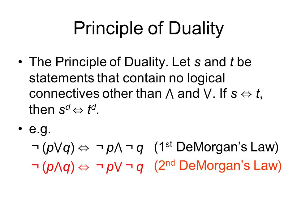 Principle of Duality The Principle of Duality.