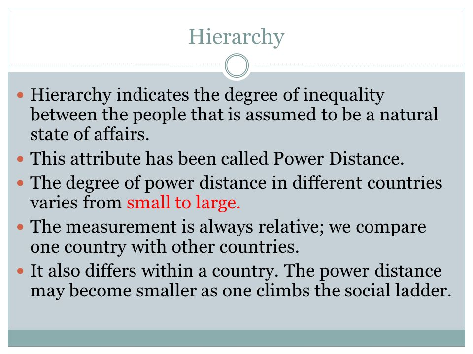 Hierarchy Hierarchy indicates the degree of inequality between the people that is assumed to be a natural state of affairs.