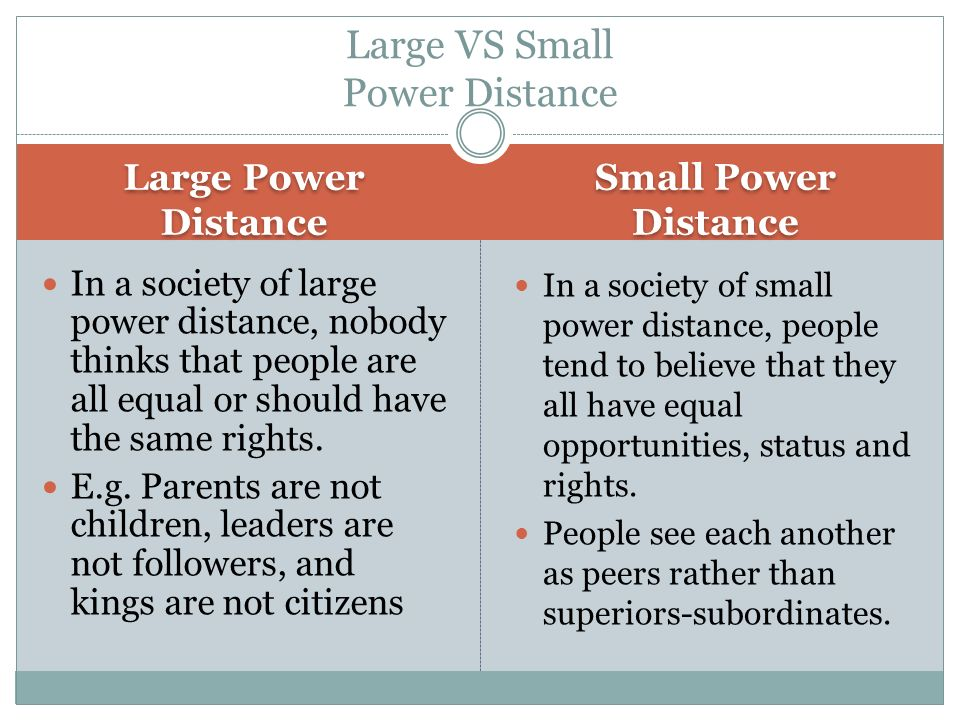 Large Power Distance Small Power Distance In a society of large power distance, nobody thinks that people are all equal or should have the same rights.