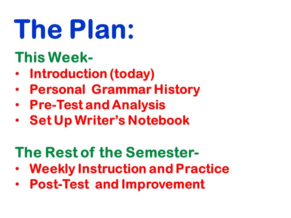 The Plan: This Week- Introduction (today) Personal Grammar History Pre-Test and Analysis Set Up Writer's Notebook The Rest of the Semester- Weekly Instruction and Practice Post-Test and Improvement