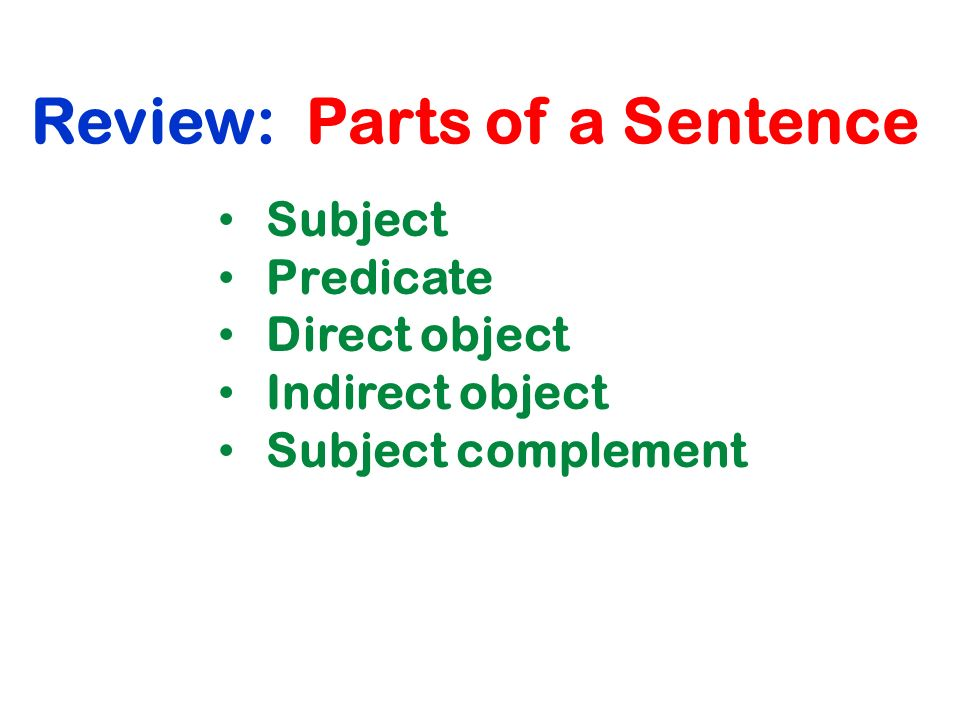Review: Parts of a Sentence Subject Predicate Direct object Indirect object Subject complement