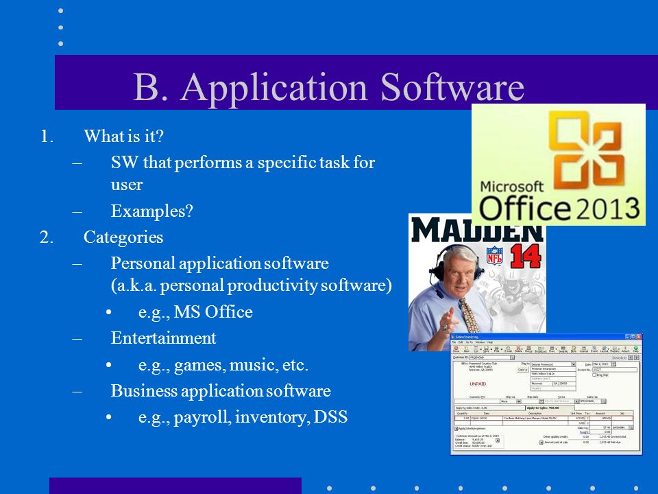 system software and application software We can distinguish system software and application software on account of their design the system software is designed to manage the system resources and provide a platform for application software to run.