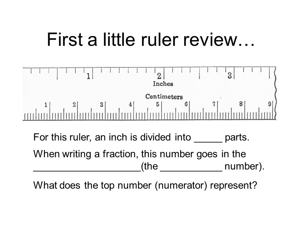 First a little ruler review… For this ruler, an inch is divided into _____ parts.
