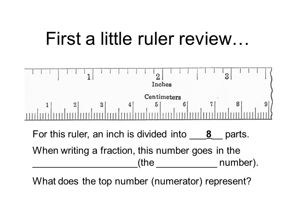 First a little ruler review… For this ruler, an inch is divided into ___8__ parts.