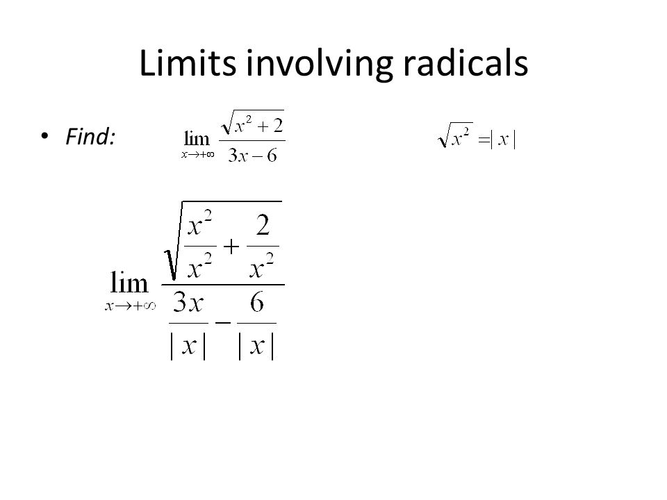 Limits at infinity explore the end behavior of a function ppt 31 limits involving radicals find ccuart Gallery