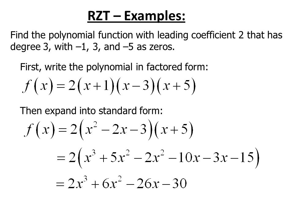 A3 3.4 Zeros of Polynomial Functions Homework: p eoo, odd. - ppt ...
