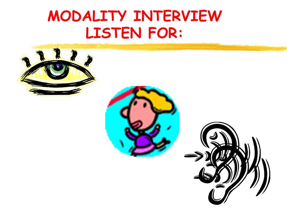 MODALITY INTERVIEW LISTEN FOR: