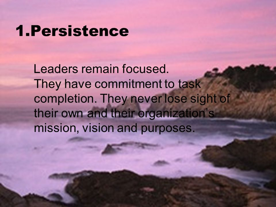 1.Persistence Leaders remain focused. They have commitment to task completion.