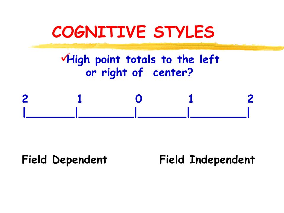 COGNITIVE STYLES Field Dependent Field Independent High point totals to the left or right of center.