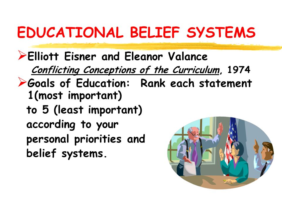 EDUCATIONAL BELIEF SYSTEMS  Elliott Eisner and Eleanor Valance Conflicting Conceptions of the Curriculum, 1974  Goals of Education: Rank each statement 1(most important) to 5 (least important) according to your personal priorities and belief systems.