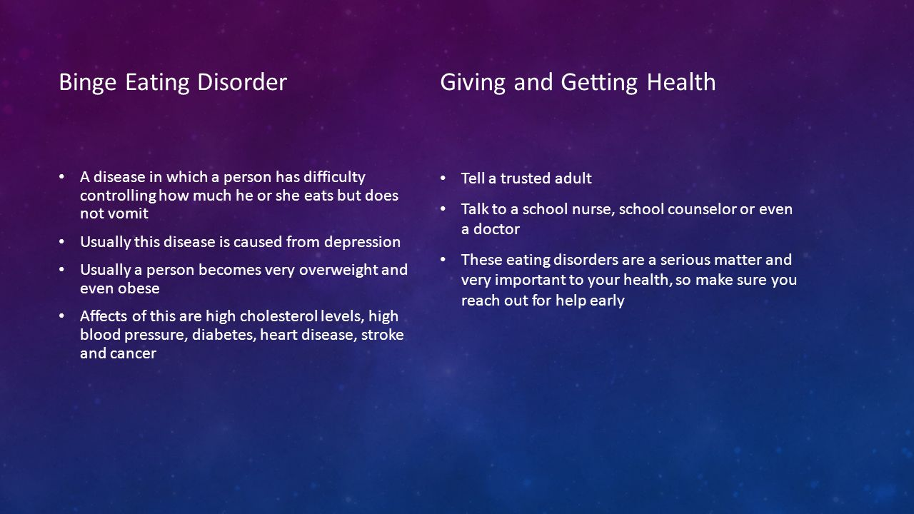 Binge Eating Disorder A disease in which a person has difficulty controlling how much he or she eats but does not vomit Usually this disease is caused from depression Usually a person becomes very overweight and even obese Affects of this are high cholesterol levels, high blood pressure, diabetes, heart disease, stroke and cancer Giving and Getting Health Tell a trusted adult Talk to a school nurse, school counselor or even a doctor These eating disorders are a serious matter and very important to your health, so make sure you reach out for help early