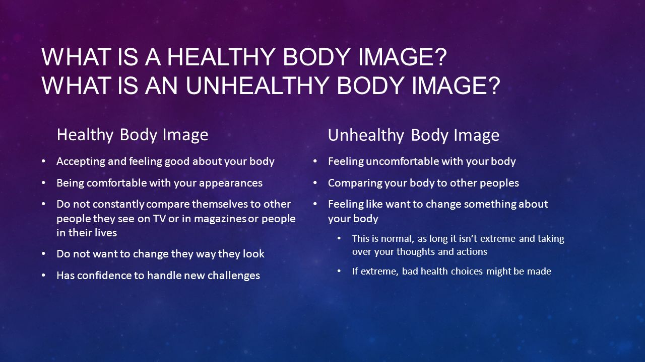 WHAT IS A HEALTHY BODY IMAGE.WHAT IS AN UNHEALTHY BODY IMAGE.