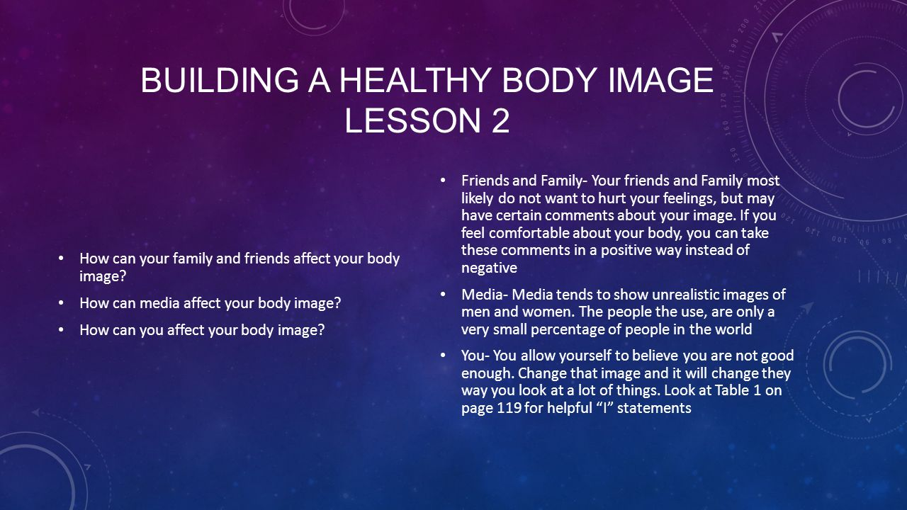 BUILDING A HEALTHY BODY IMAGE LESSON 2 How can your family and friends affect your body image.