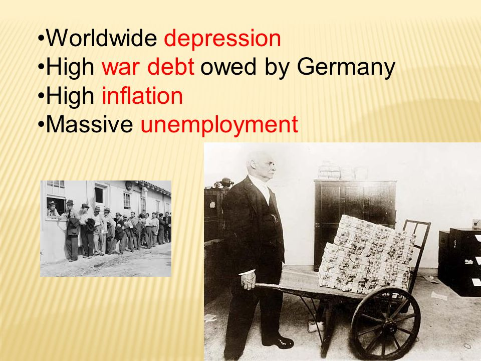 Worldwide depression High war debt owed by Germany High inflation Massive unemployment