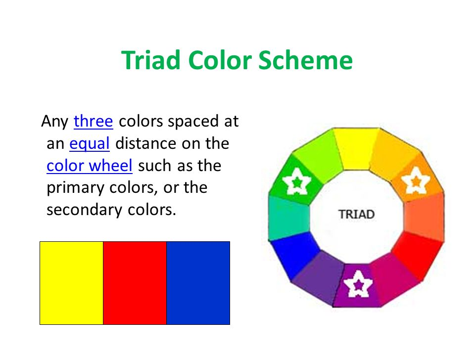 9 Triad Color Scheme Any Three Colors Spaced At An Equal Distance On The Wheel Such As Primary Or Secondary