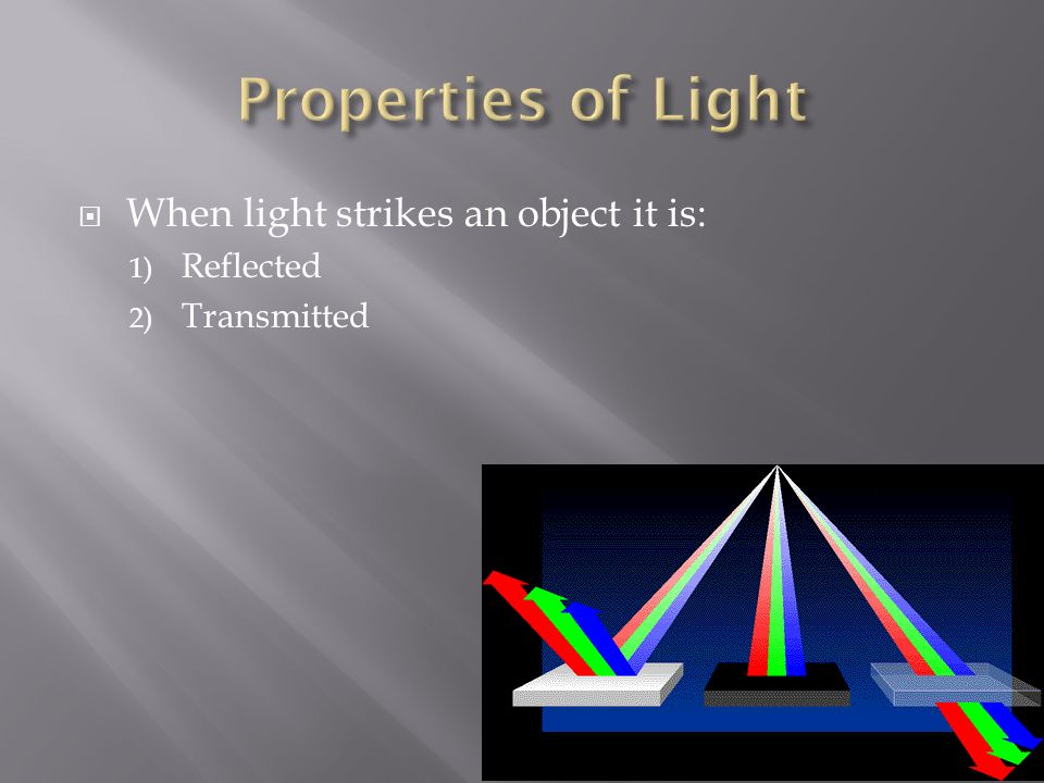  When light strikes an object it is: 1) Reflected 2) Transmitted