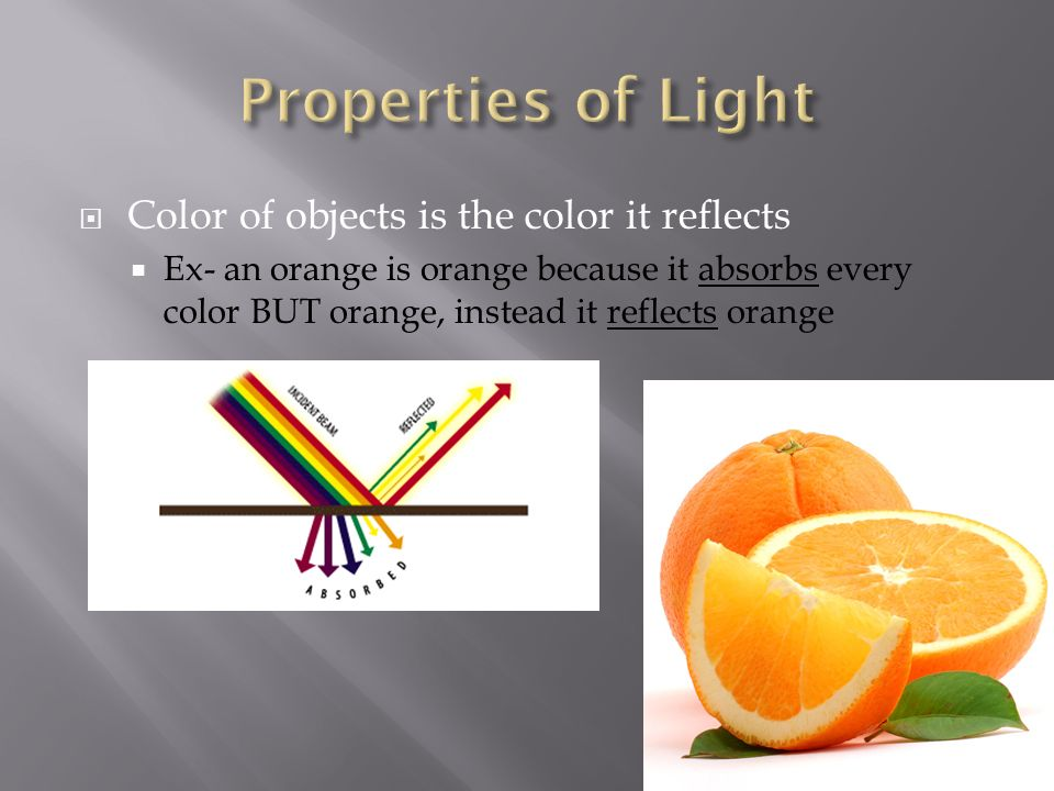  Color of objects is the color it reflects  Ex- an orange is orange because it absorbs every color BUT orange, instead it reflects orange