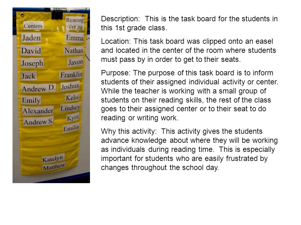 Description: This is the task board for the students in this 1st grade class.