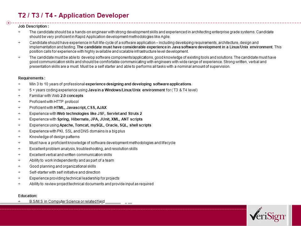 T Development Manager Job Description   This Position Is For