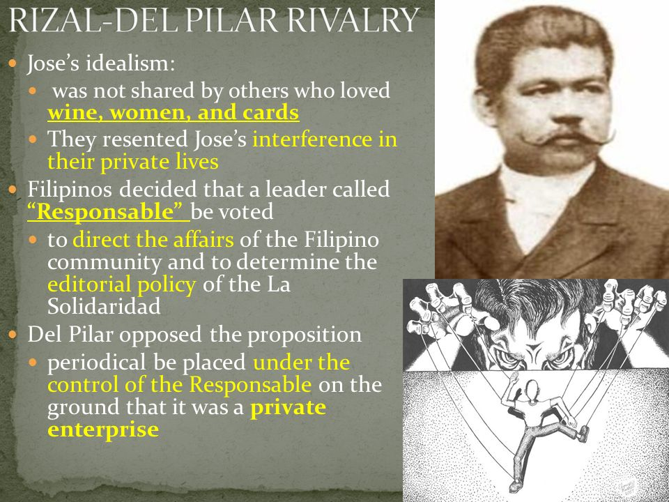 Jose's idealism: was not shared by others who loved wine, women, and cards They resented Jose's interference in their private lives Filipinos decided that a leader called Responsable be voted to direct the affairs of the Filipino community and to determine the editorial policy of the La Solidaridad Del Pilar opposed the proposition periodical be placed under the control of the Responsable on the ground that it was a private enterprise