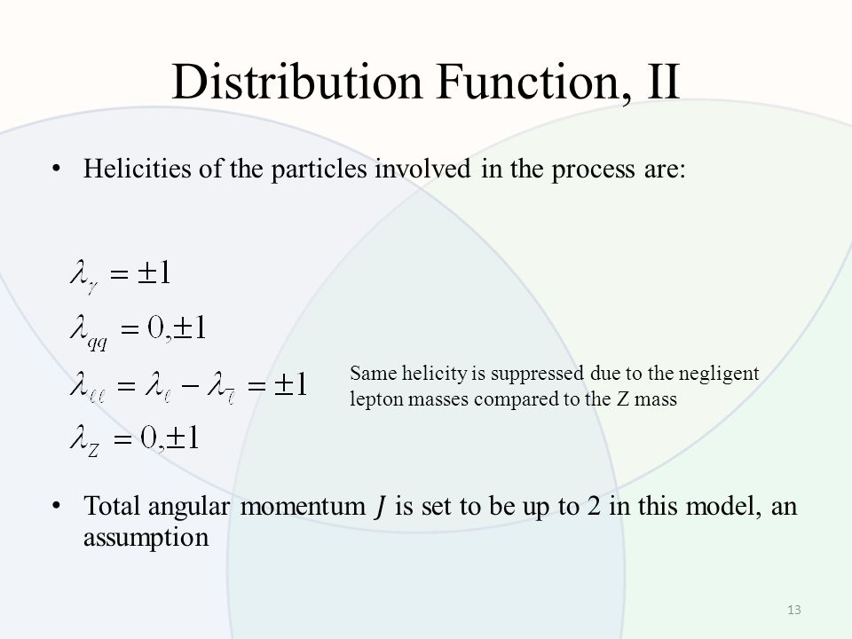 Distribution Function, II 13 Same helicity is suppressed due to the negligent lepton masses compared to the Z mass