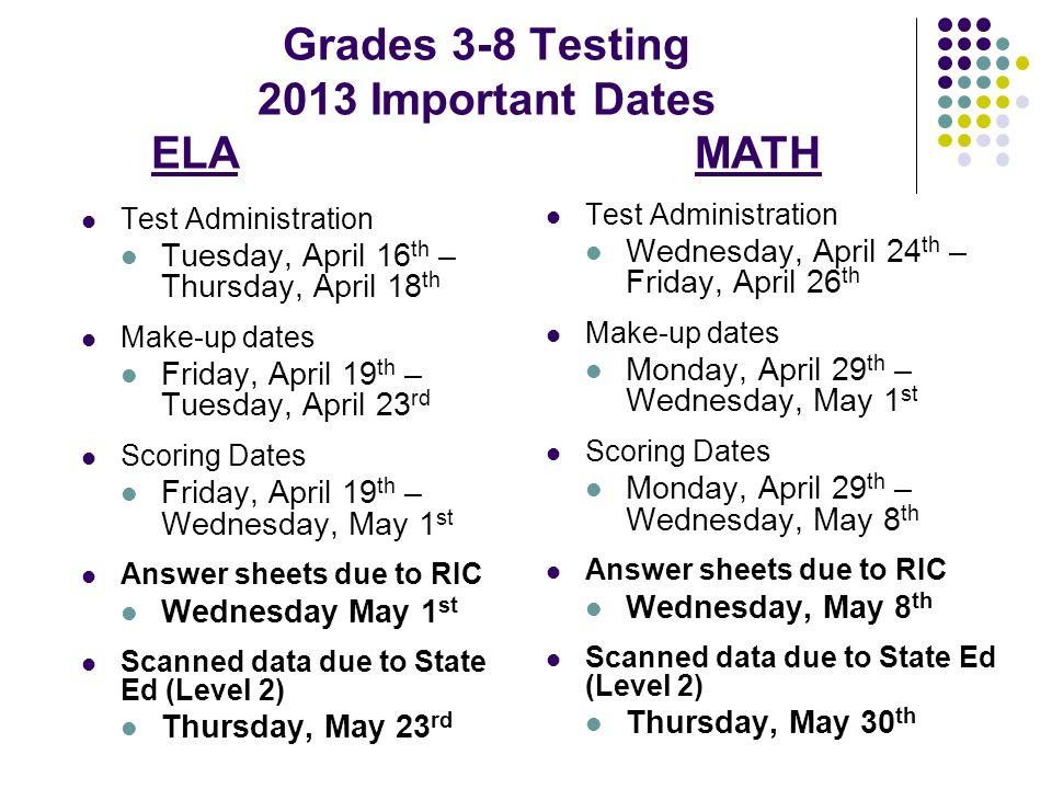 Grades 3-8 Testing 2013 Important Dates ELA MATH Test Administration ...