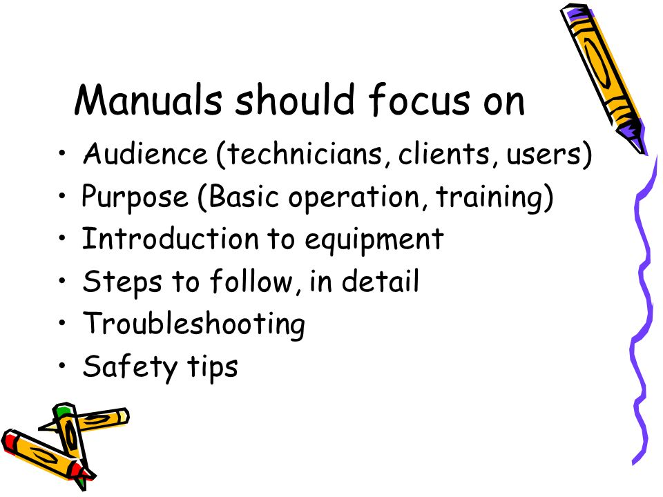 Equipment user manual technical writing yasir jan college of eme 6 manuals should focus on audience technicians clients users purpose basic operation training introduction to equipment steps to follow sciox Images