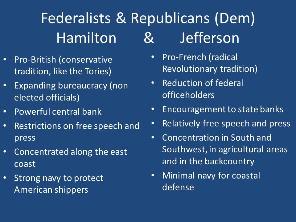 federalists and jeffersonian republicans on french