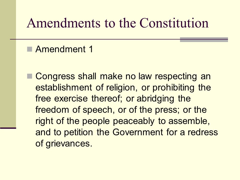 a description of the amendment i on congress making no law respecting an establishment of religion Write a brief description of each amendment in the bill of rights text first amendment congress shall make no law respecting an establishment of religion.