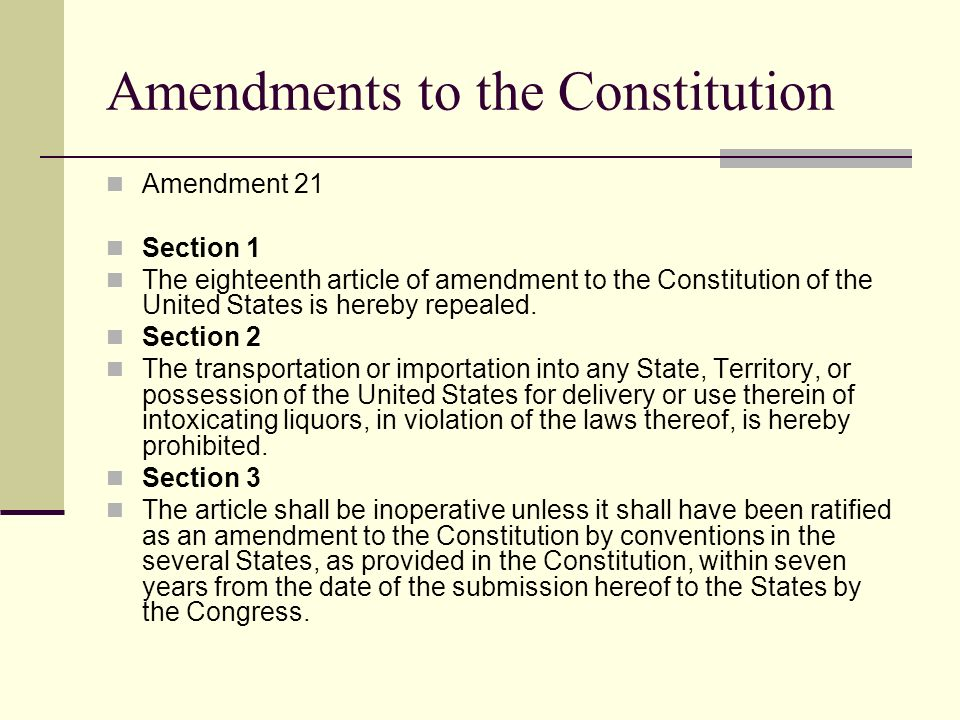 a description of the congress passed the eighteenth amendment to the constitution in 1917 Eighteenth amendment to the united states constitution this article is part of a series on the it was passed by congress on december 18, 1917.