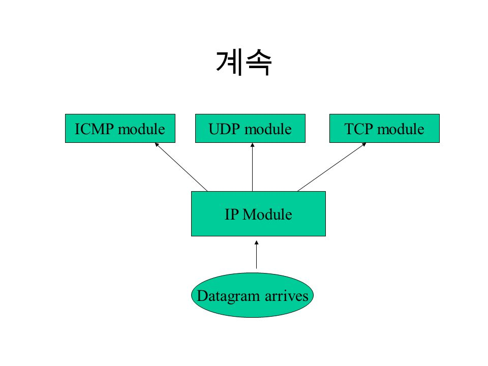 계속 ICMP moduleUDP moduleTCP module IP Module Datagram arrives