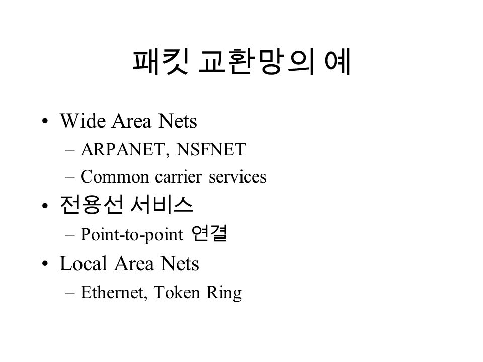 패킷 교환망의 예 Wide Area Nets –ARPANET, NSFNET –Common carrier services 전용선 서비스 –Point-to-point 연결 Local Area Nets –Ethernet, Token Ring