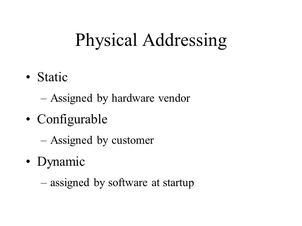 Physical Addressing Static –Assigned by hardware vendor Configurable –Assigned by customer Dynamic –assigned by software at startup