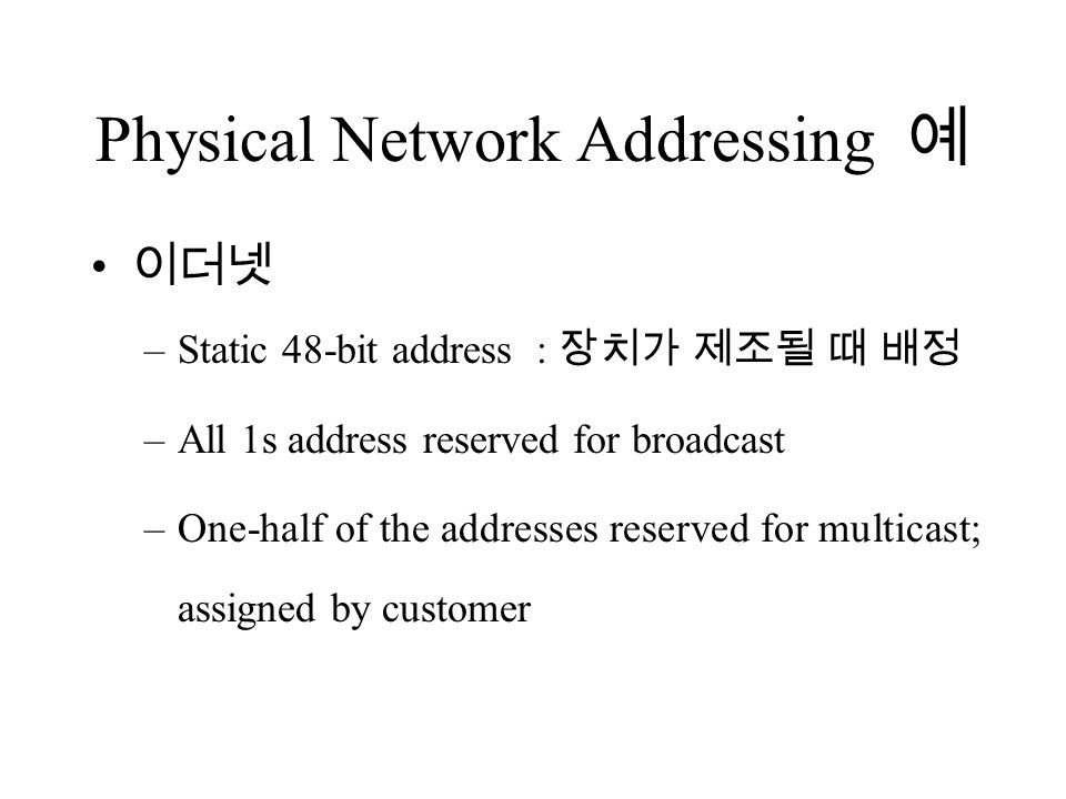 Physical Network Addressing 예 이더넷 –Static 48-bit address : 장치가 제조될 때 배정 –All 1s address reserved for broadcast –One-half of the addresses reserved for multicast; assigned by customer