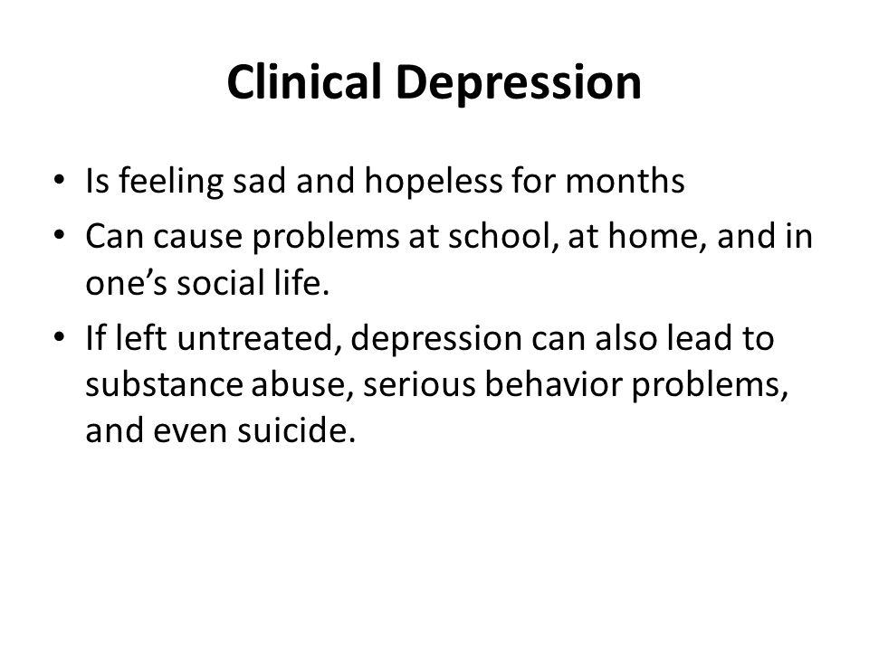 what is clinical depression essay Depression is the common cold of mental disorders — most people will be affected by depression in their lives either directly or indirectly, through a friend or family member confusion is commonplace about depression, for example, about what depression exactly is and what makes it different from just feeling down.