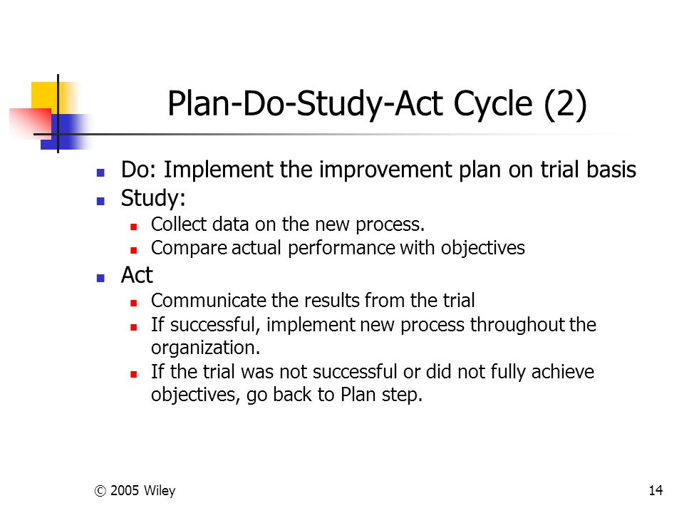 © 2005 Wiley14 Plan-Do-Study-Act Cycle (2) Do: Implement the improvement plan on trial basis Study: Collect data on the new process.
