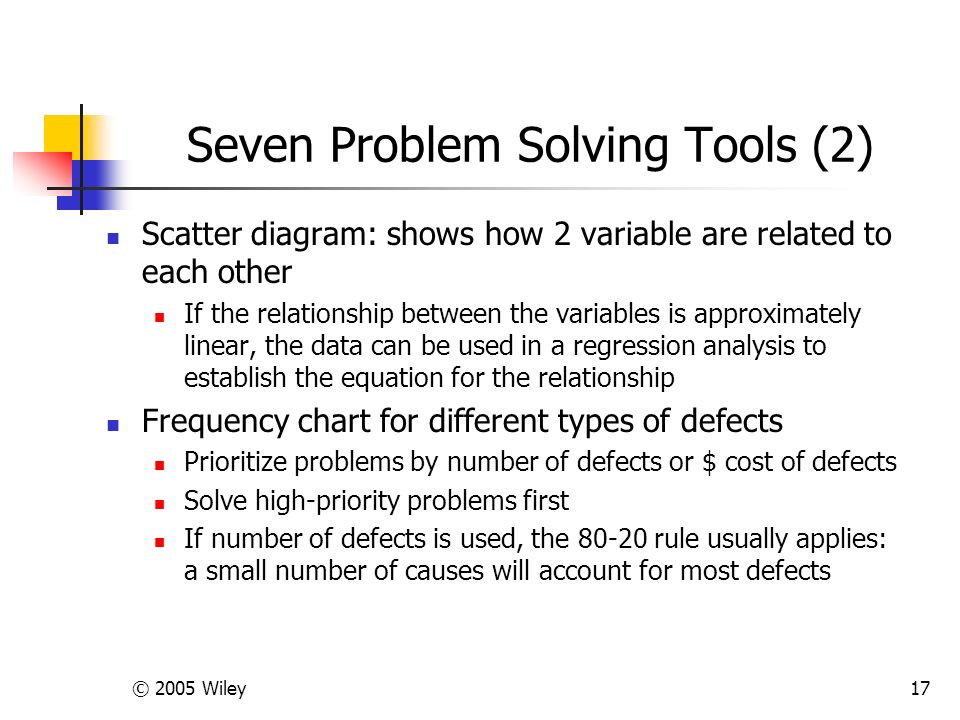© 2005 Wiley17 Seven Problem Solving Tools (2) Scatter diagram: shows how 2 variable are related to each other If the relationship between the variables is approximately linear, the data can be used in a regression analysis to establish the equation for the relationship Frequency chart for different types of defects Prioritize problems by number of defects or $ cost of defects Solve high-priority problems first If number of defects is used, the 80-20 rule usually applies: a small number of causes will account for most defects