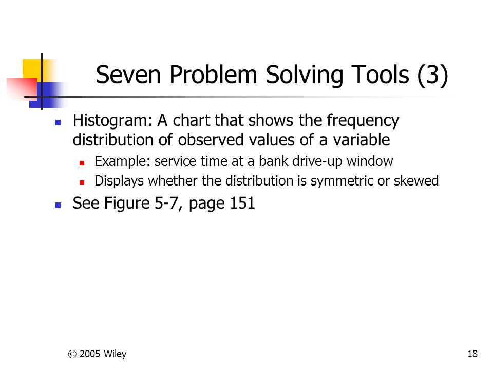 © 2005 Wiley18 Seven Problem Solving Tools (3) Histogram: A chart that shows the frequency distribution of observed values of a variable Example: service time at a bank drive-up window Displays whether the distribution is symmetric or skewed See Figure 5-7, page 151