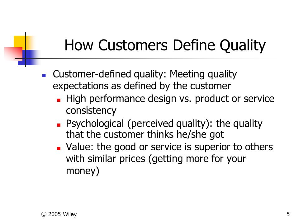 © 2005 Wiley5 How Customers Define Quality Customer-defined quality: Meeting quality expectations as defined by the customer High performance design vs.