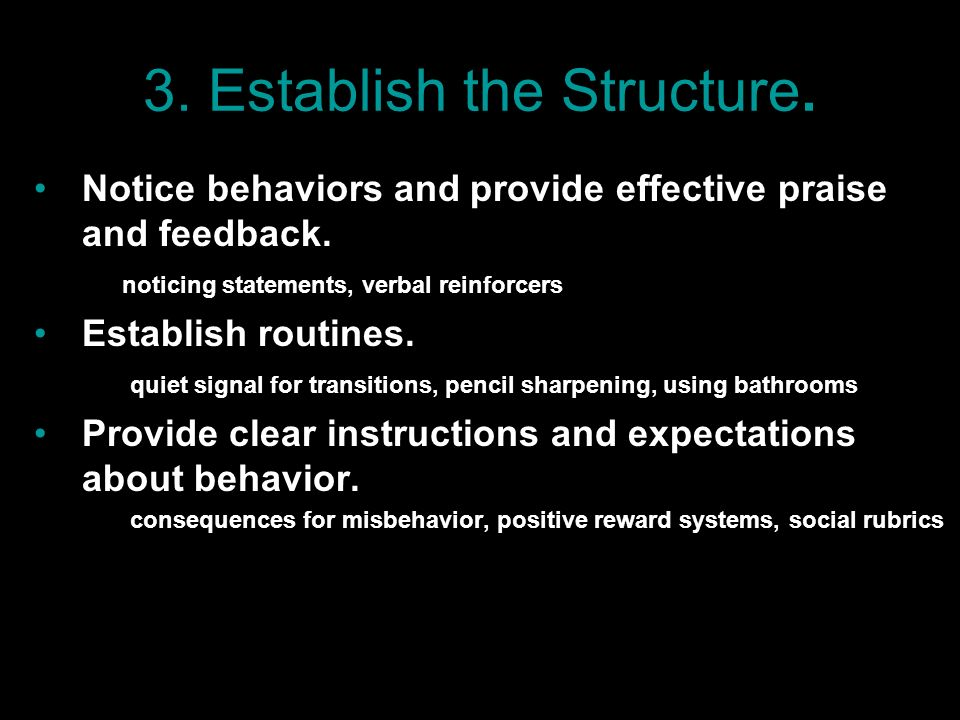 3. Establish the Structure. Notice behaviors and provide effective praise and feedback. noticing statements, verbal reinforcers Establish routines. qu